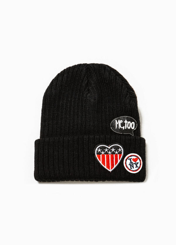 Ribbed beanie cap with patches | OVS