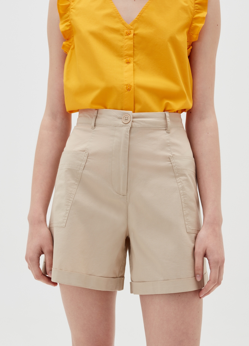 High-waisted Bermuda shorts in poplin image number null