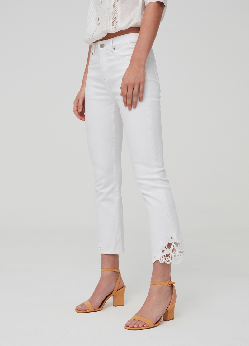 Ankle jeans with macramé lace image number null