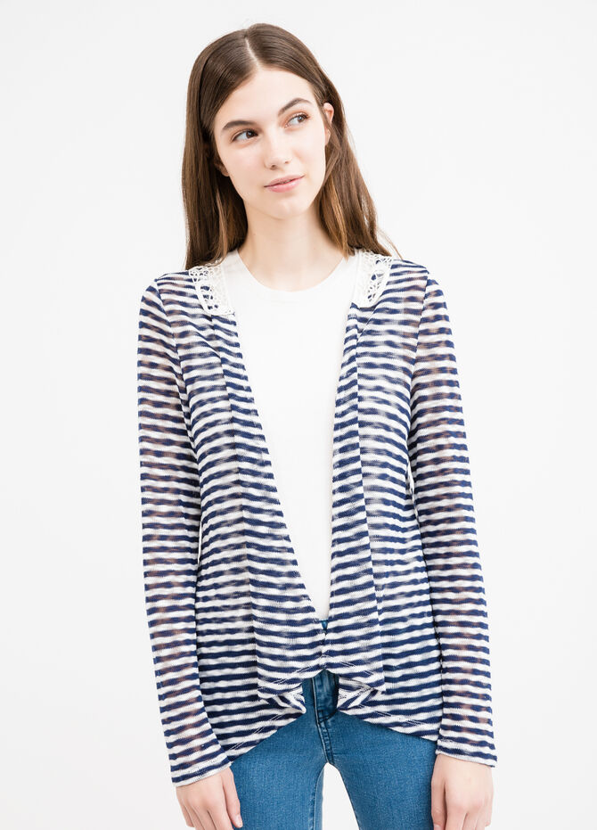 Stretch cardigan with stripes and lace