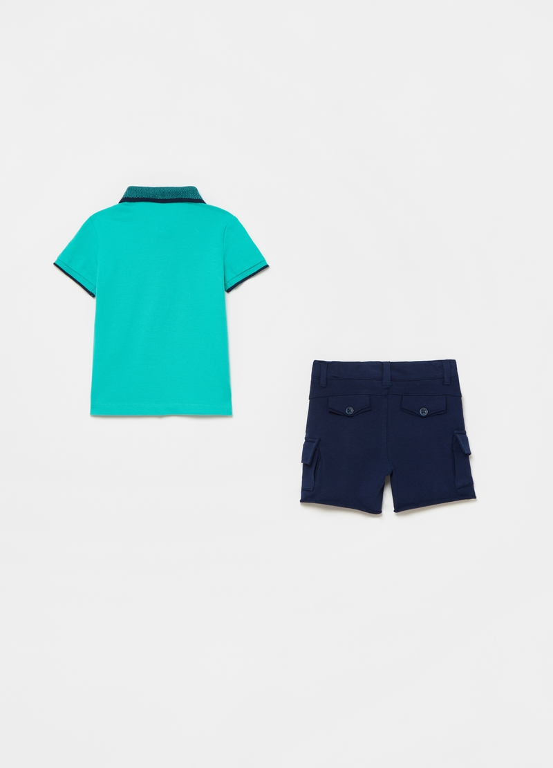 Polo shirt with embroidery and cargo shorts set image number null