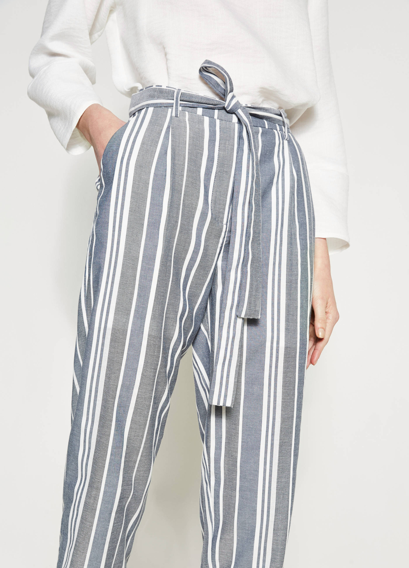 Crop trousers with stripes and belt image number null