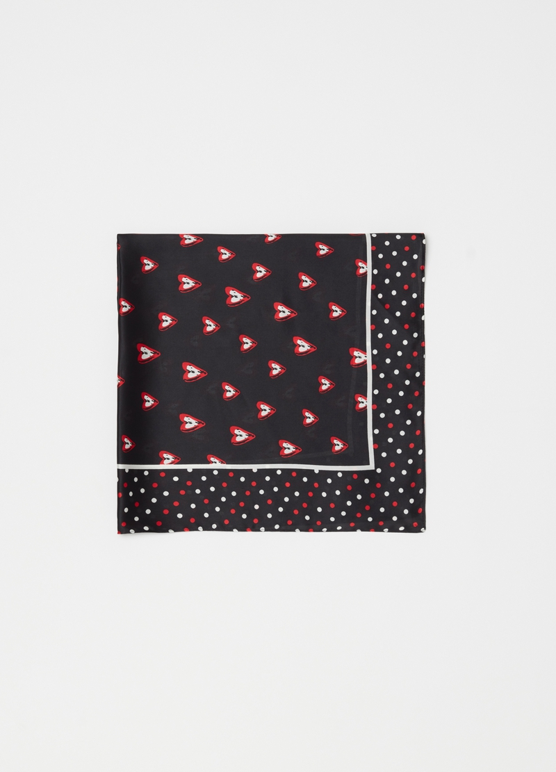 Foulard with polka dots and hearts pattern image number null