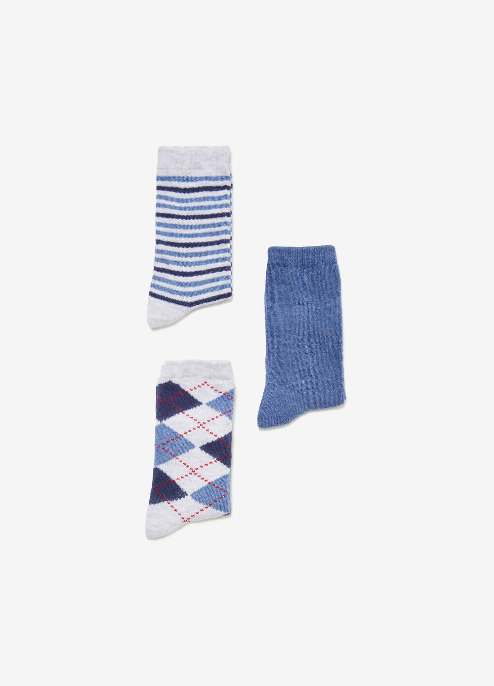 Three-pair pack solid colour and patterned socks