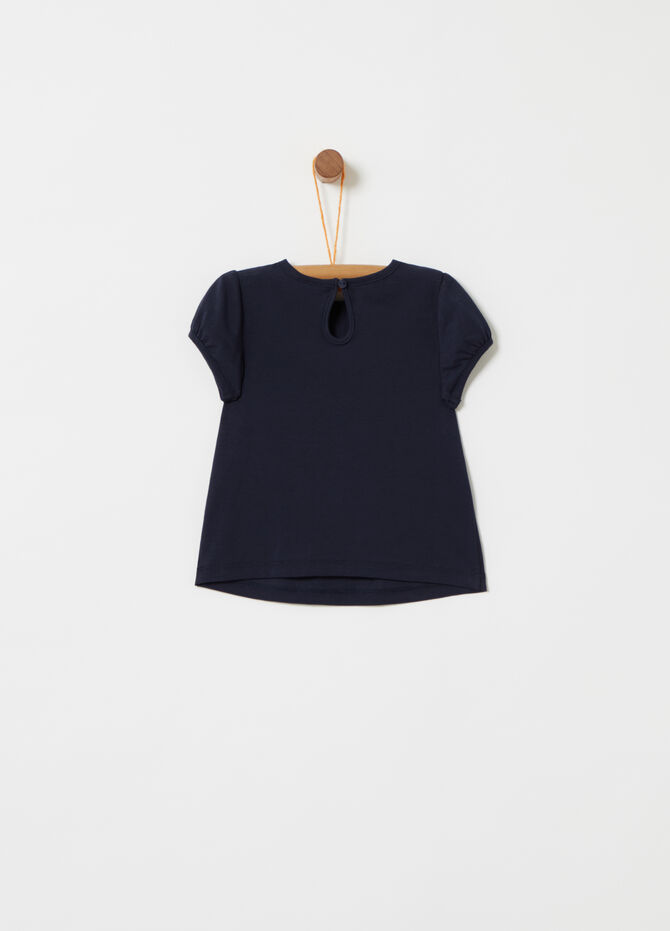 T-shirt con passamaneria in tulle e strass