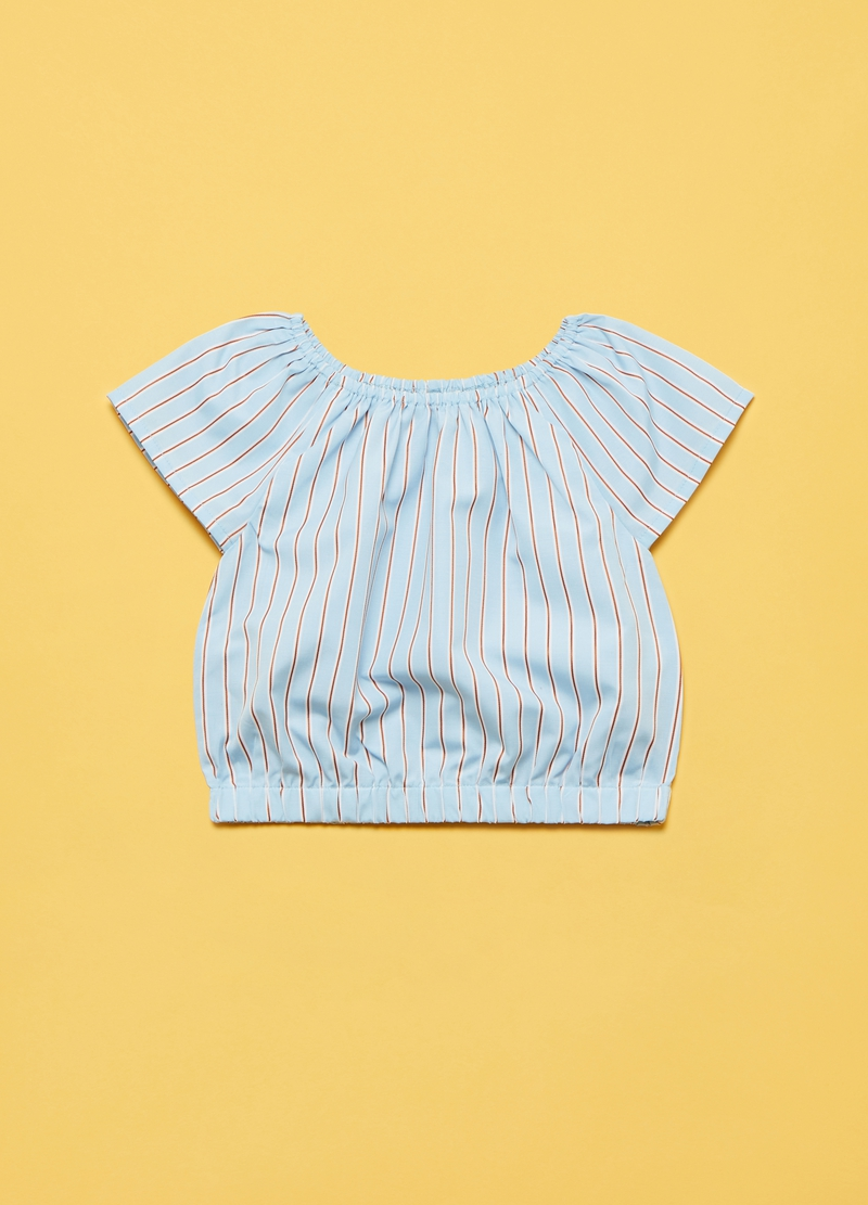 Short-sleeved blouse with striped pattern image number null
