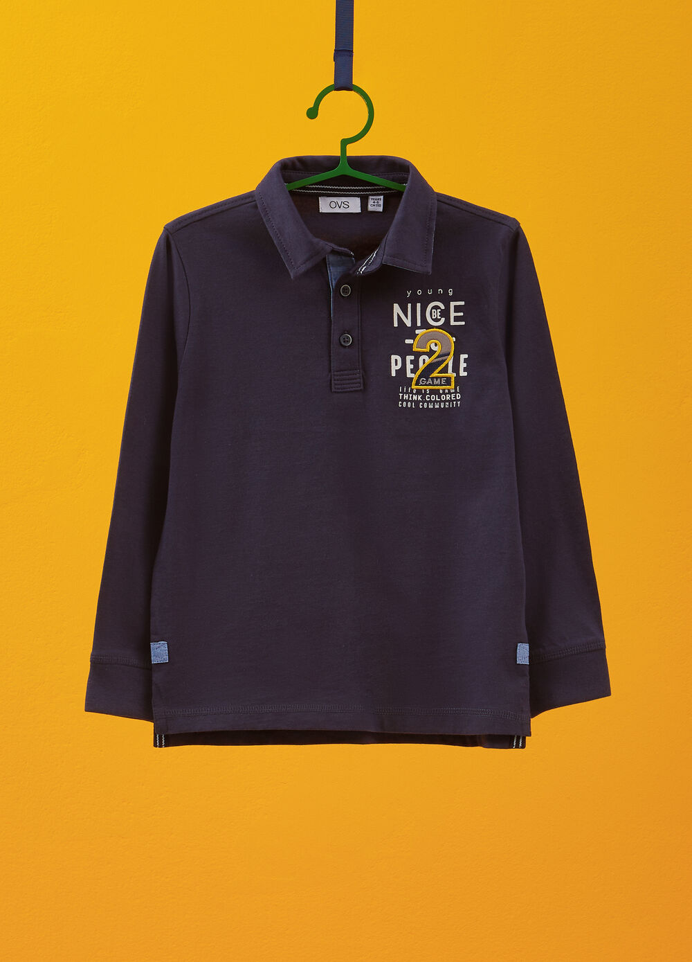 Long-sleeved 100% cotton polo shirt with print