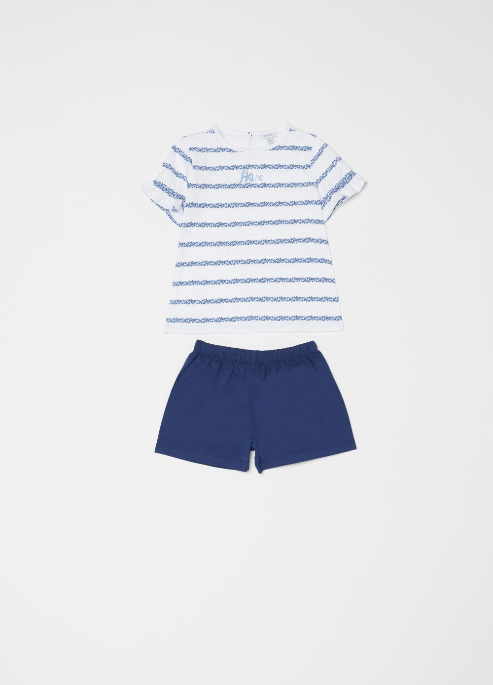 Pigiama t-shirt con volant e righe e shorts