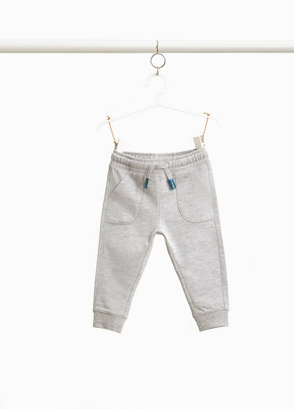 Cotton joggers with patch tips