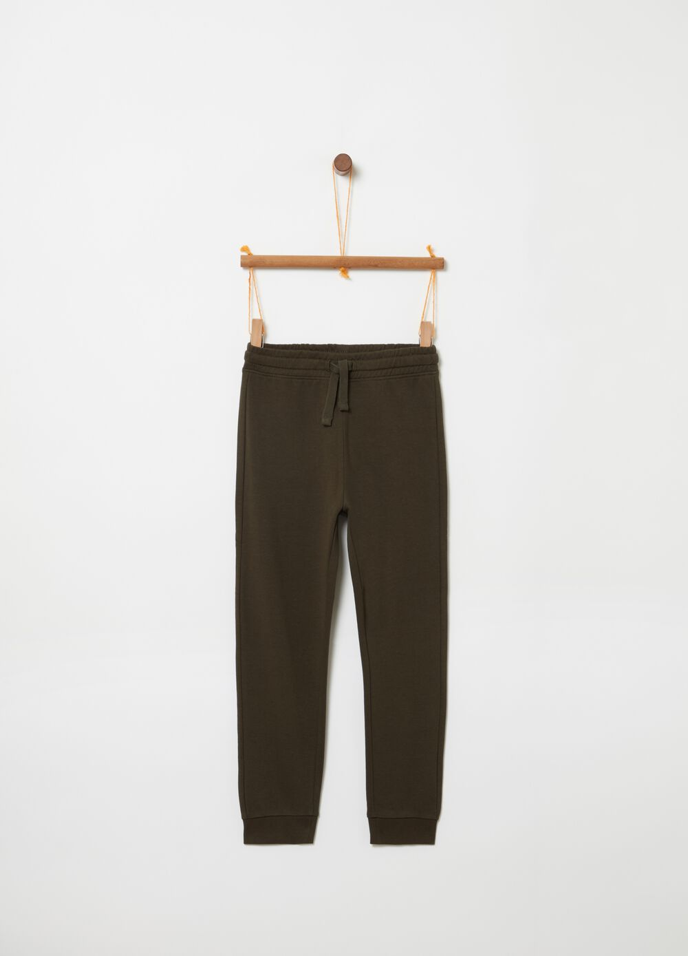 Trousers in 100% cotton with drawstring and pocket