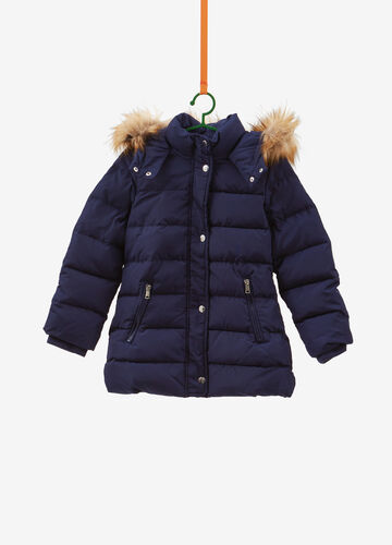 Quilted down jacket with faux fur