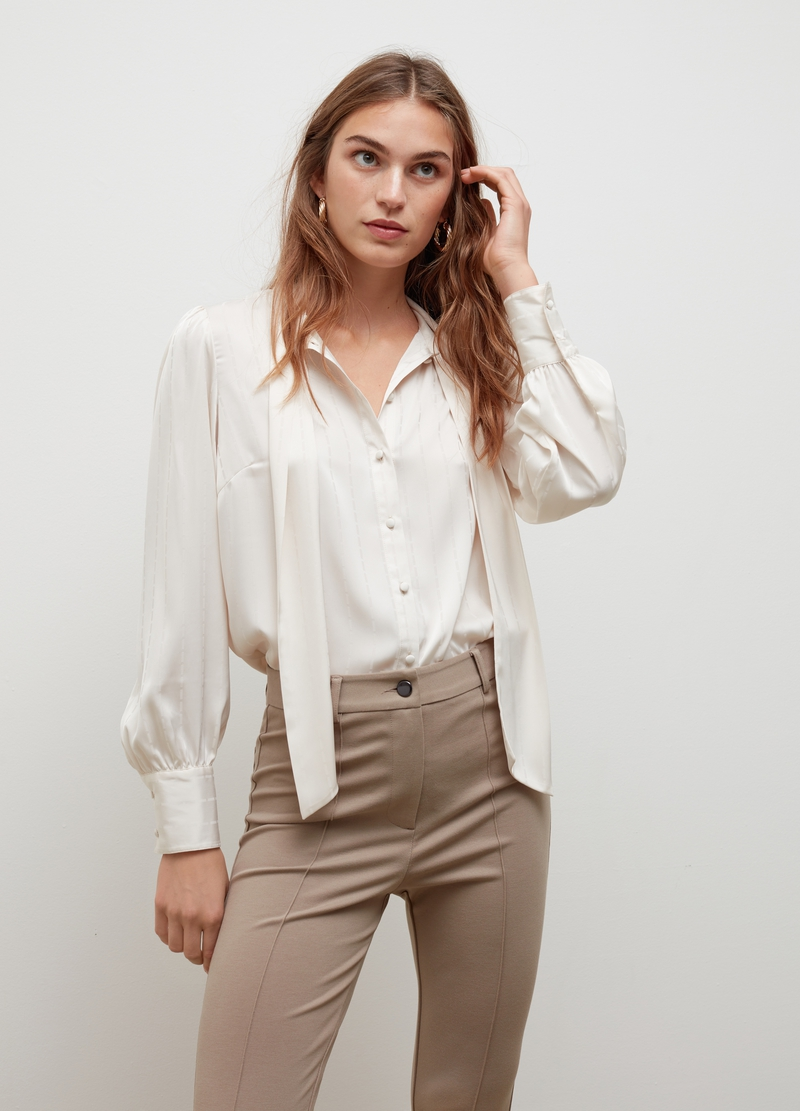 Satin blouse with foulard image number null