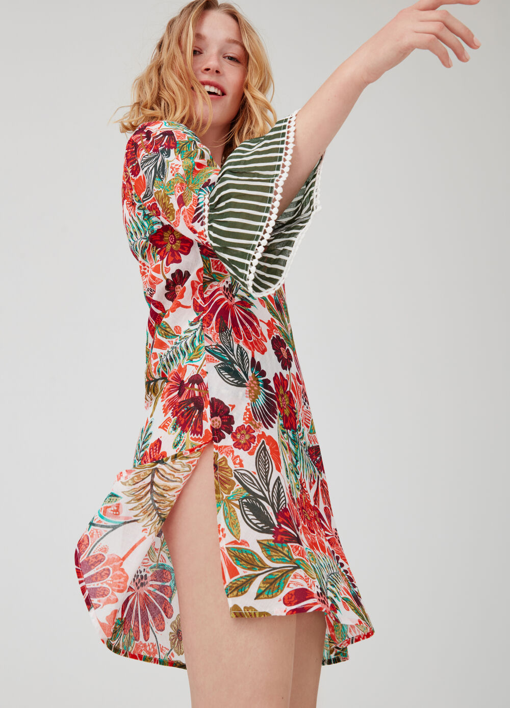 Beach cover-up with floral flounce