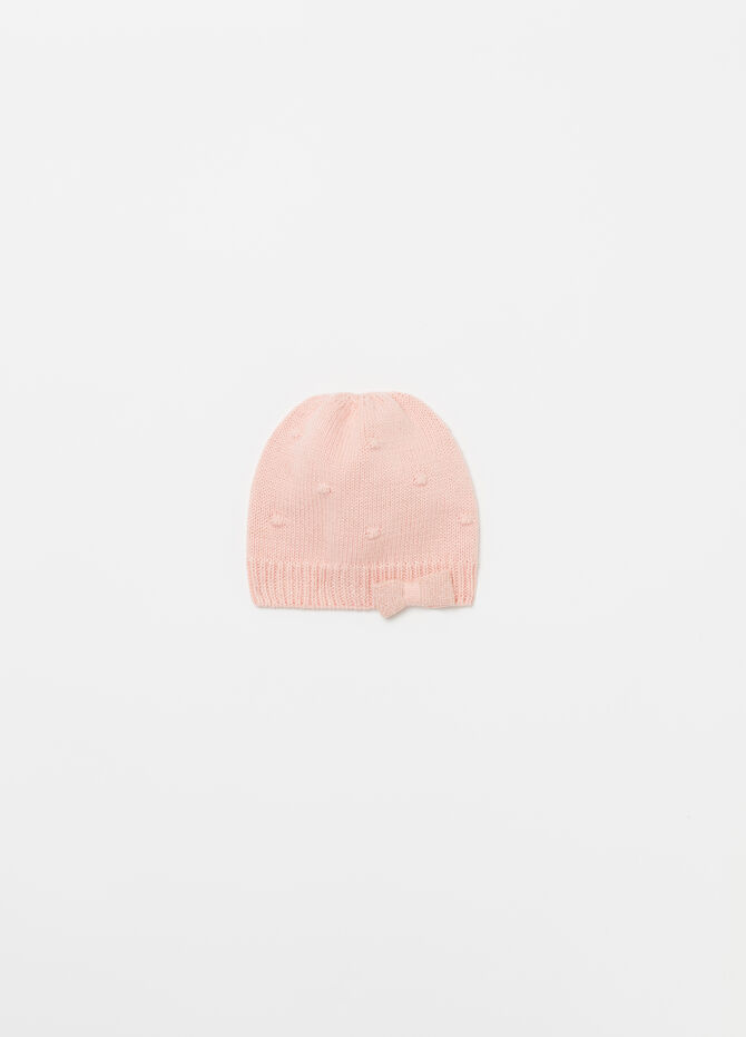 Beanie cap with lurex and bow
