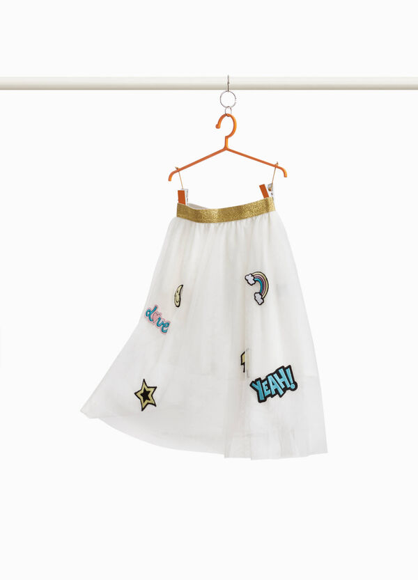 Tulle skirt with patch and glitter