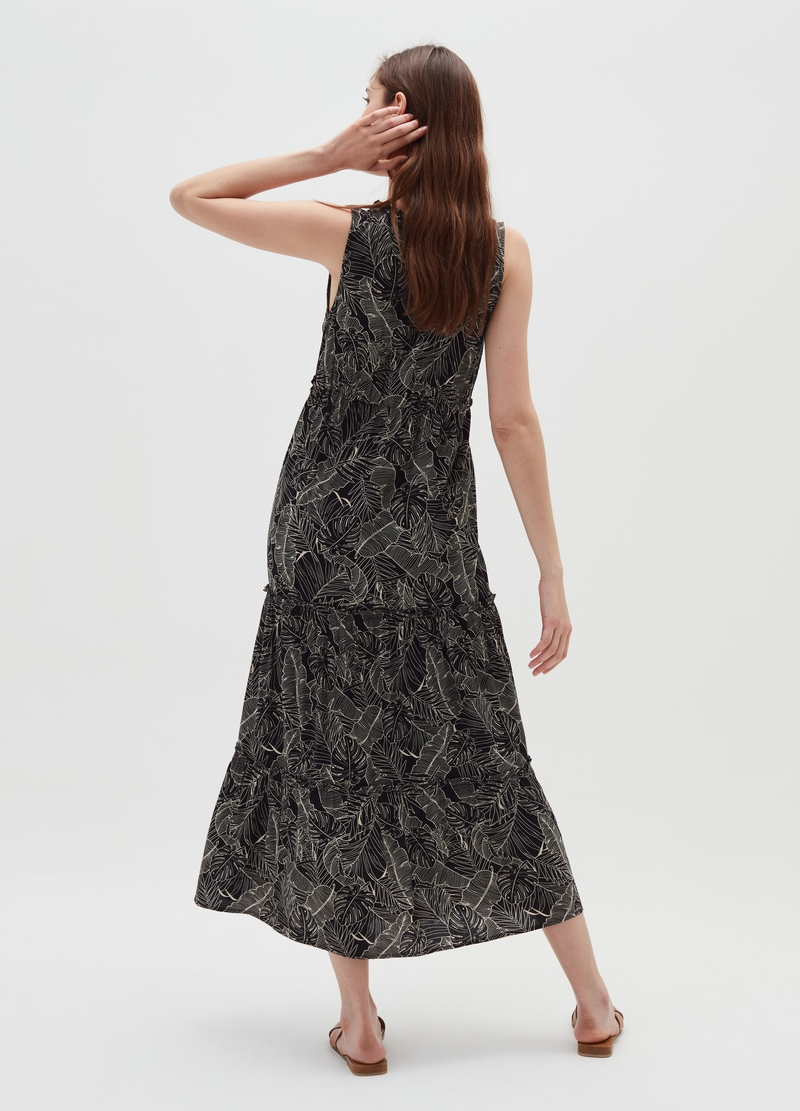 Long viscose dress with patterned print image number null