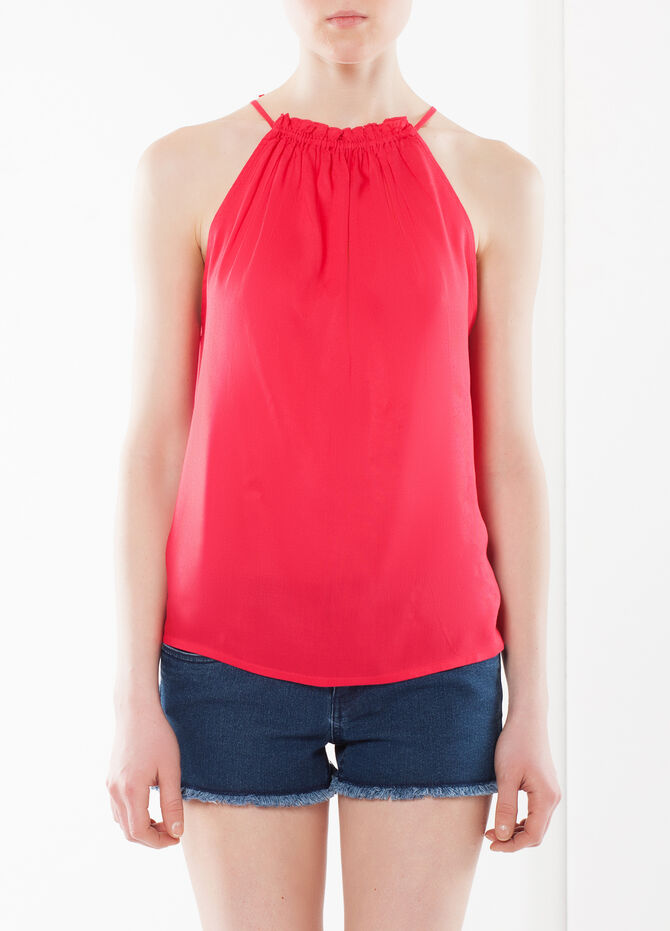 Sleeveless top with smocking
