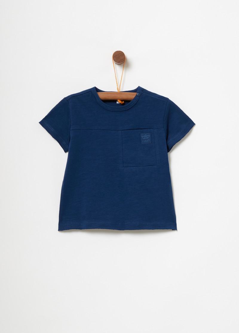 T-shirt with ribbed neckline and patch image number null