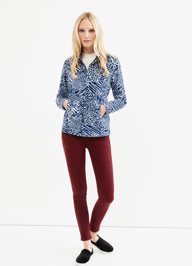 Patterned fleece sweatshirt with zip