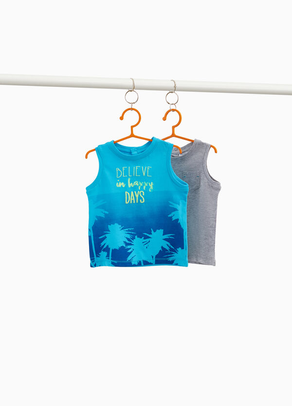 Two-pack vest tops with pocket and palms