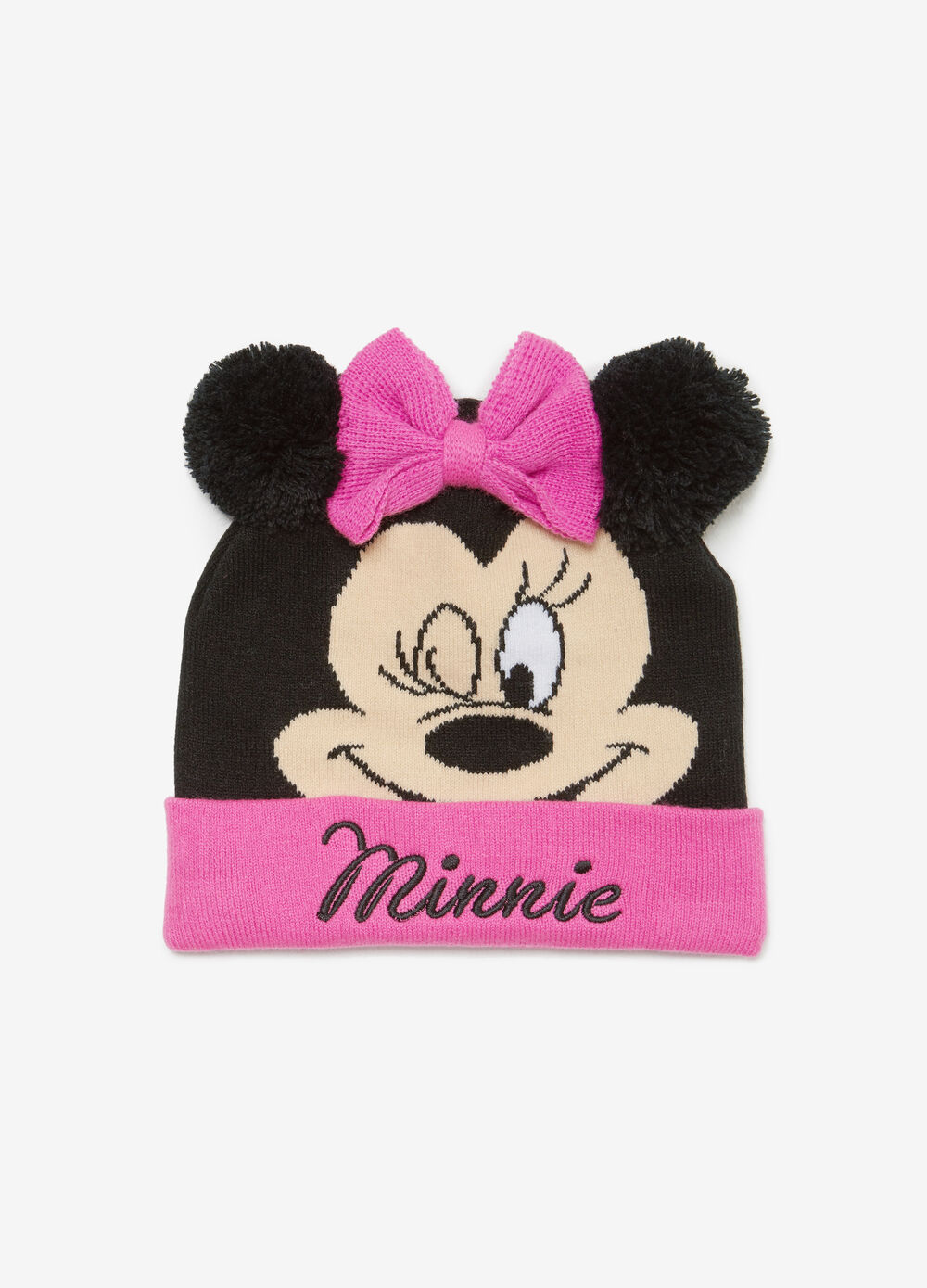 Minnie Mouse hat with pompoms and bow