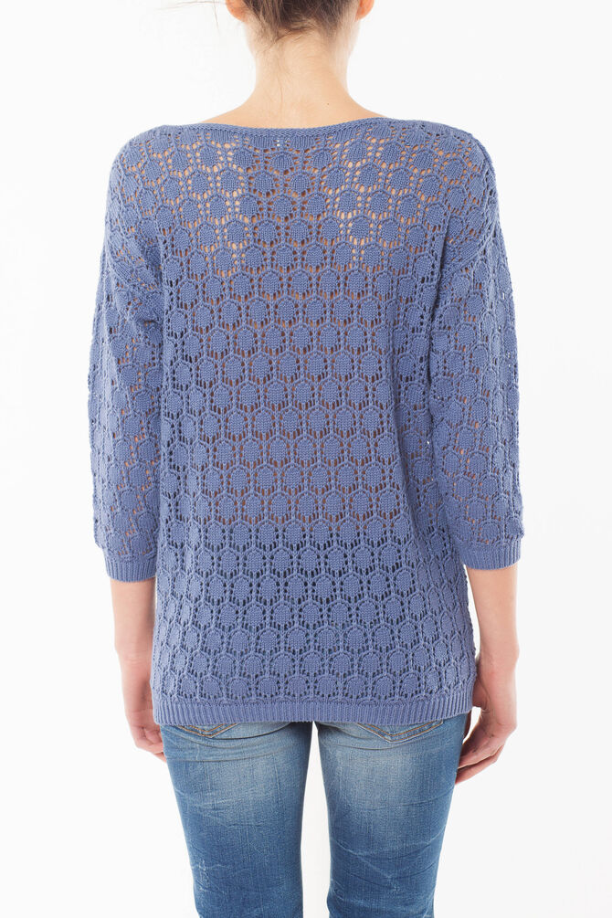 Openwork sweater with three-quarter sleeves