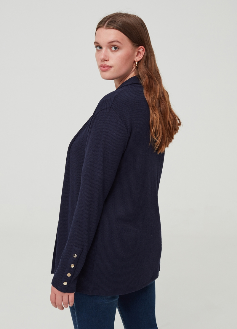 Curvy edge-to-edge cardigan with buttons image number null