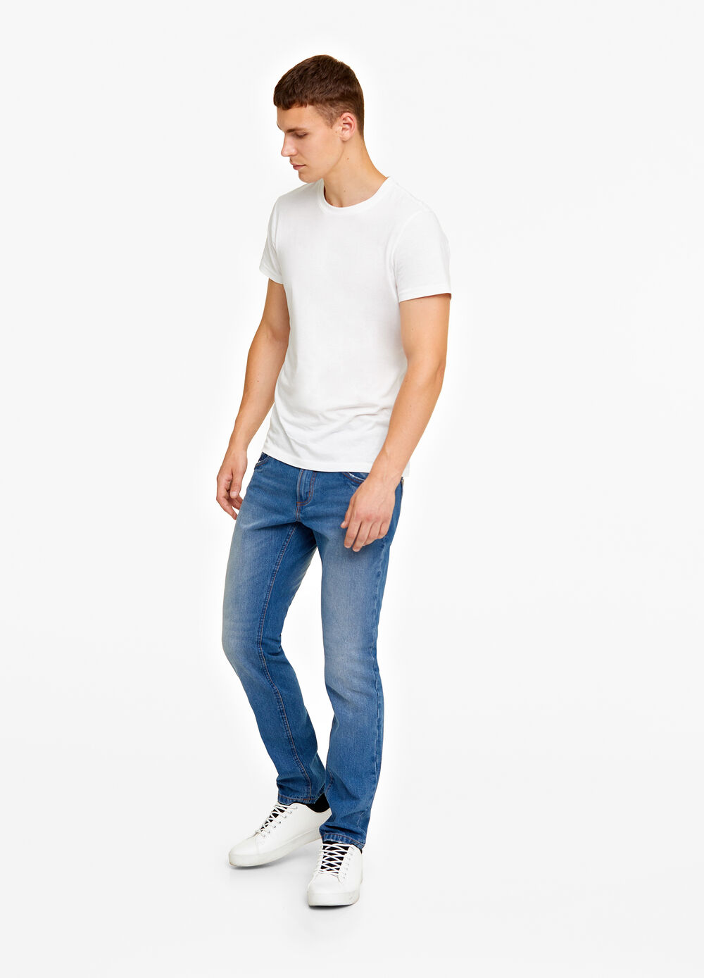 Slim-fit washed-out jeans