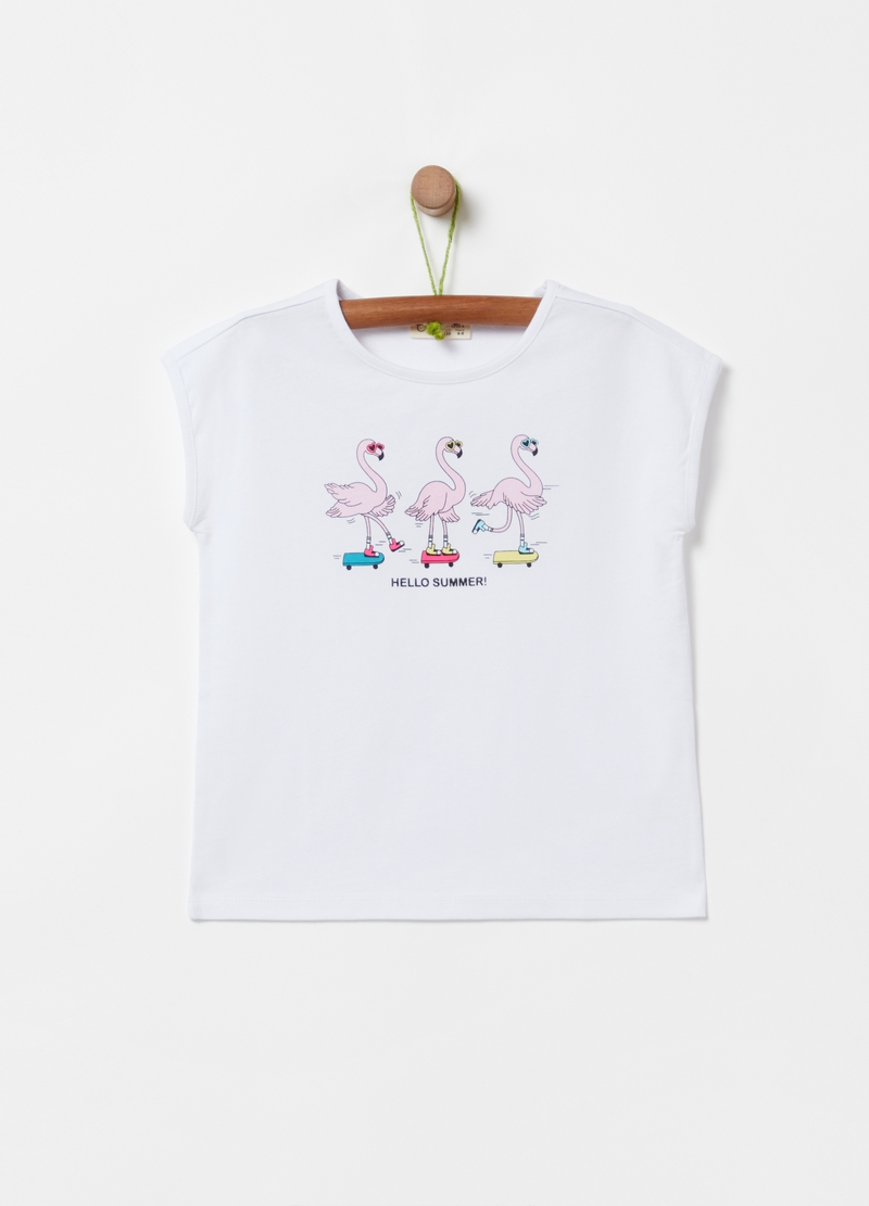 100% cotton T-shirt with flamingo print image number null