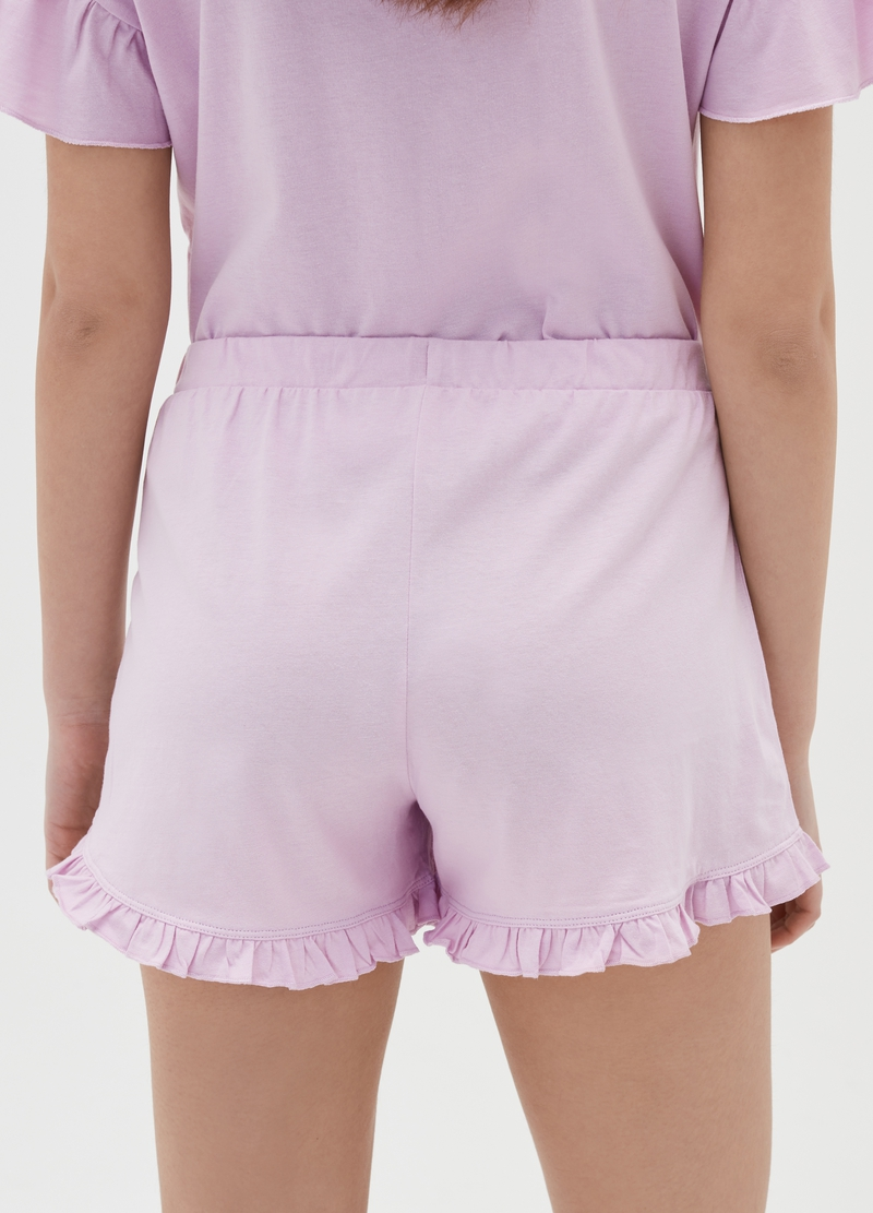 Cotton pyjama shorts with flounces image number null