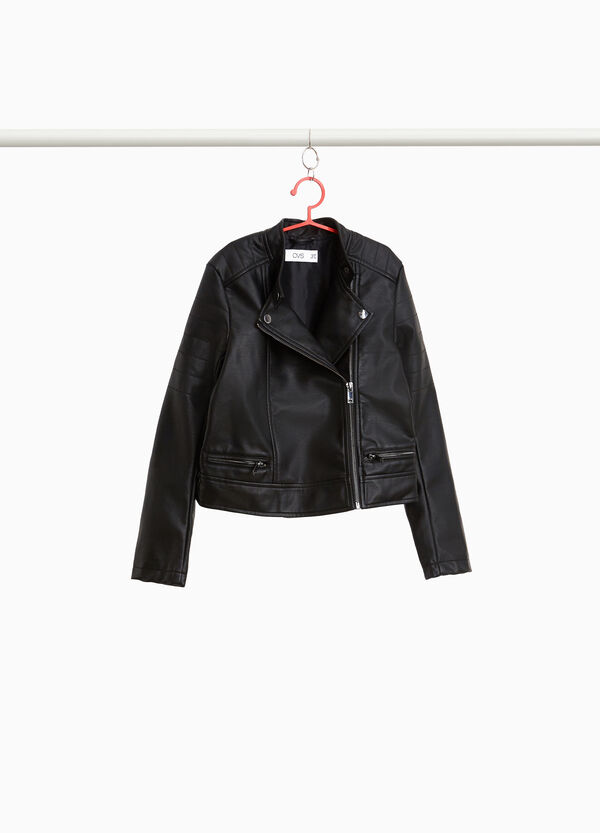 Asymmetric leather-look jacket