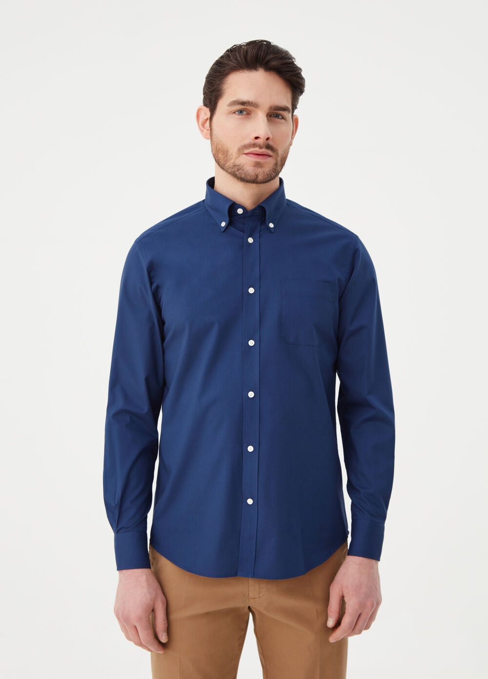 Regular-fit poplin shirt with pocket