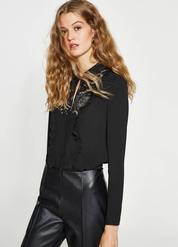 Cotton blend blouse with lace | OVS