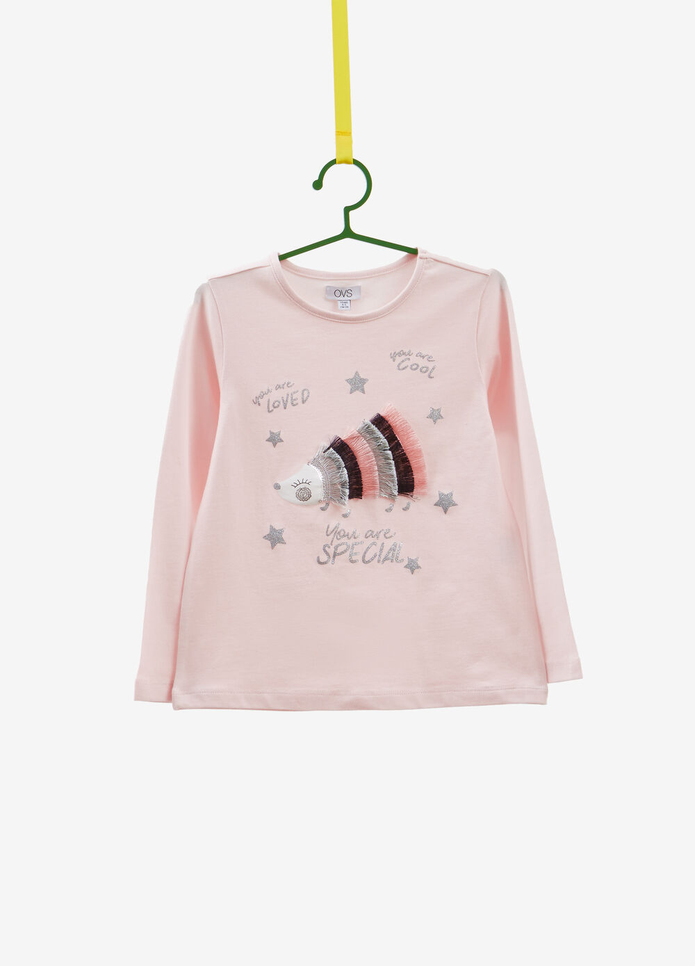 Stretch T-shirt with glitter print and fringing