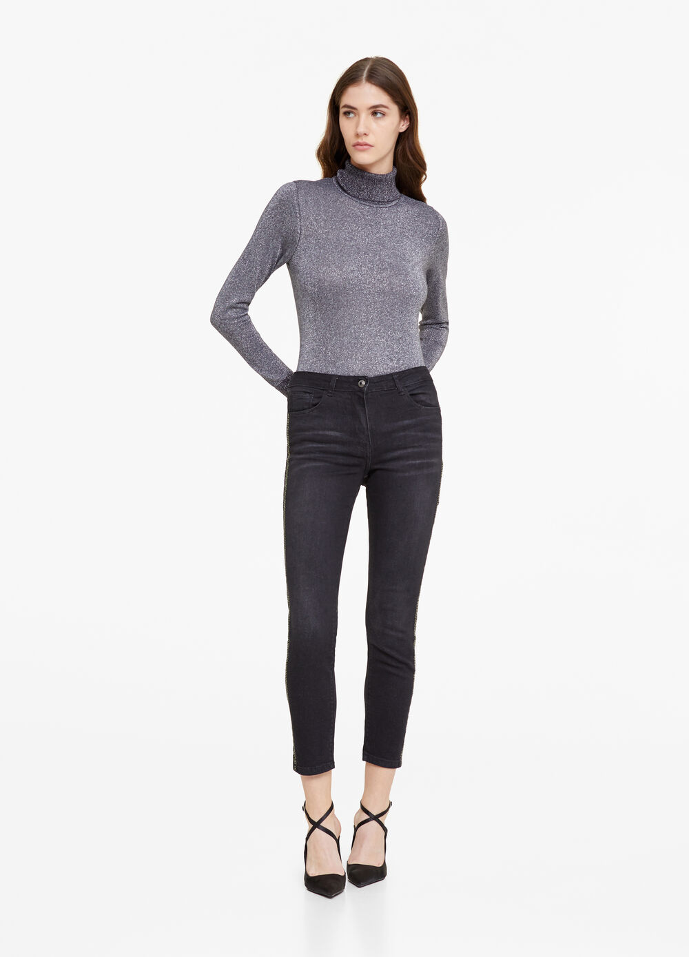Slim-fit jeans with diamantés