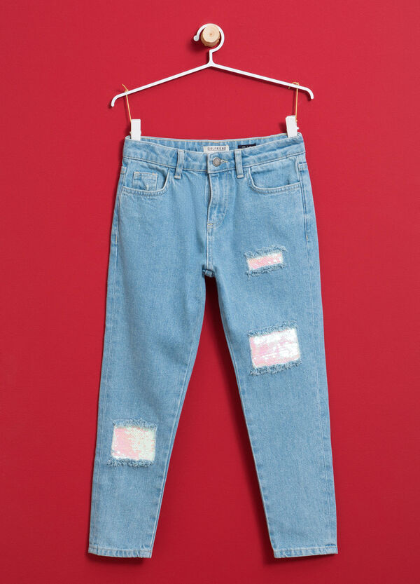 Jeans with rips and sequins | OVS