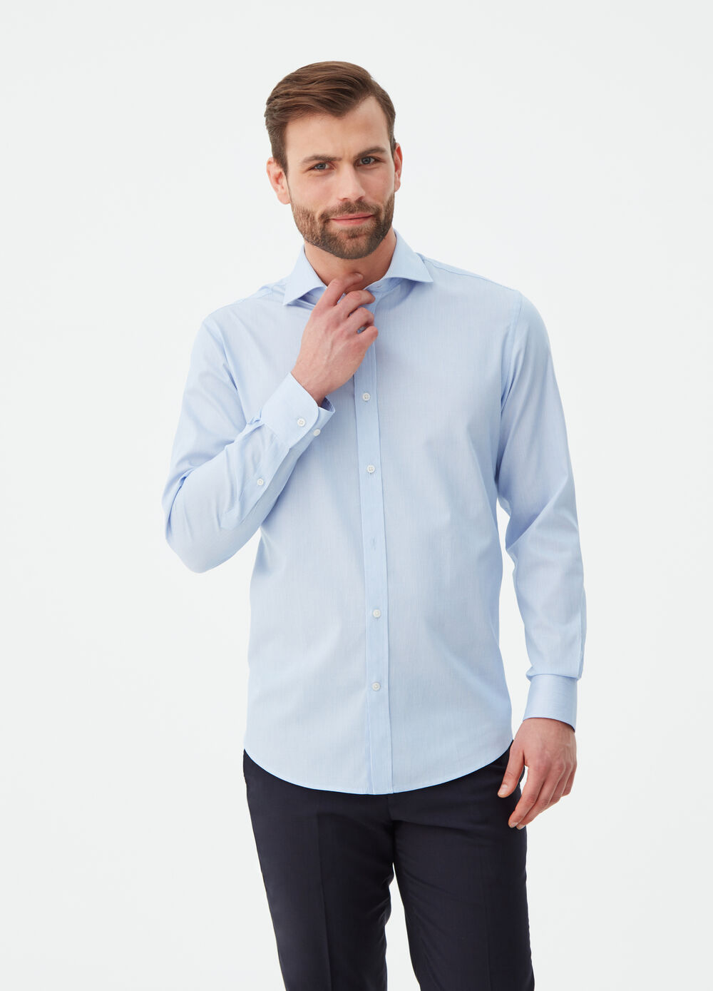 100% cotton regular-fit shirt with stripes