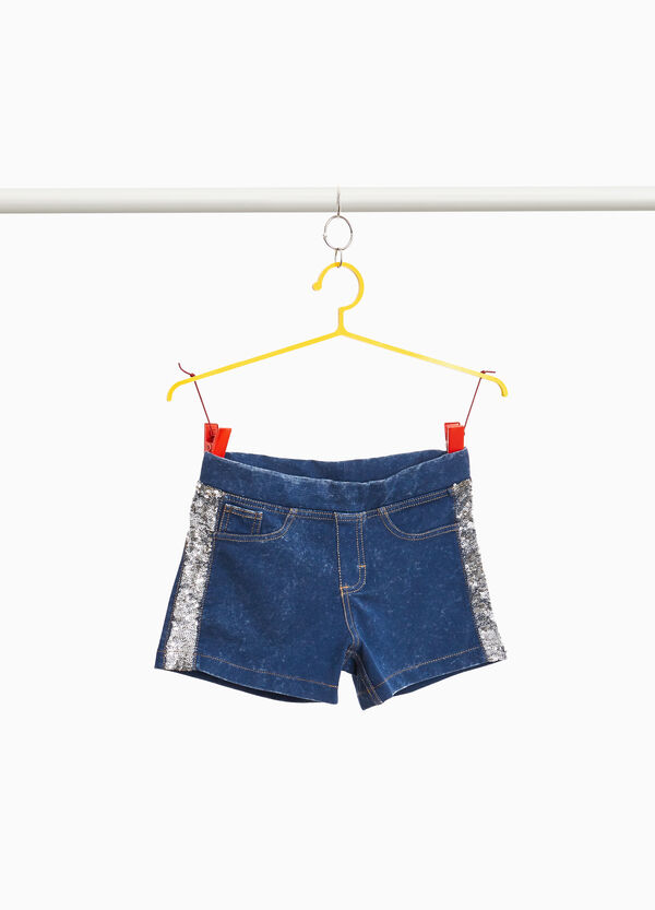 Stretch denim shorts with sequins