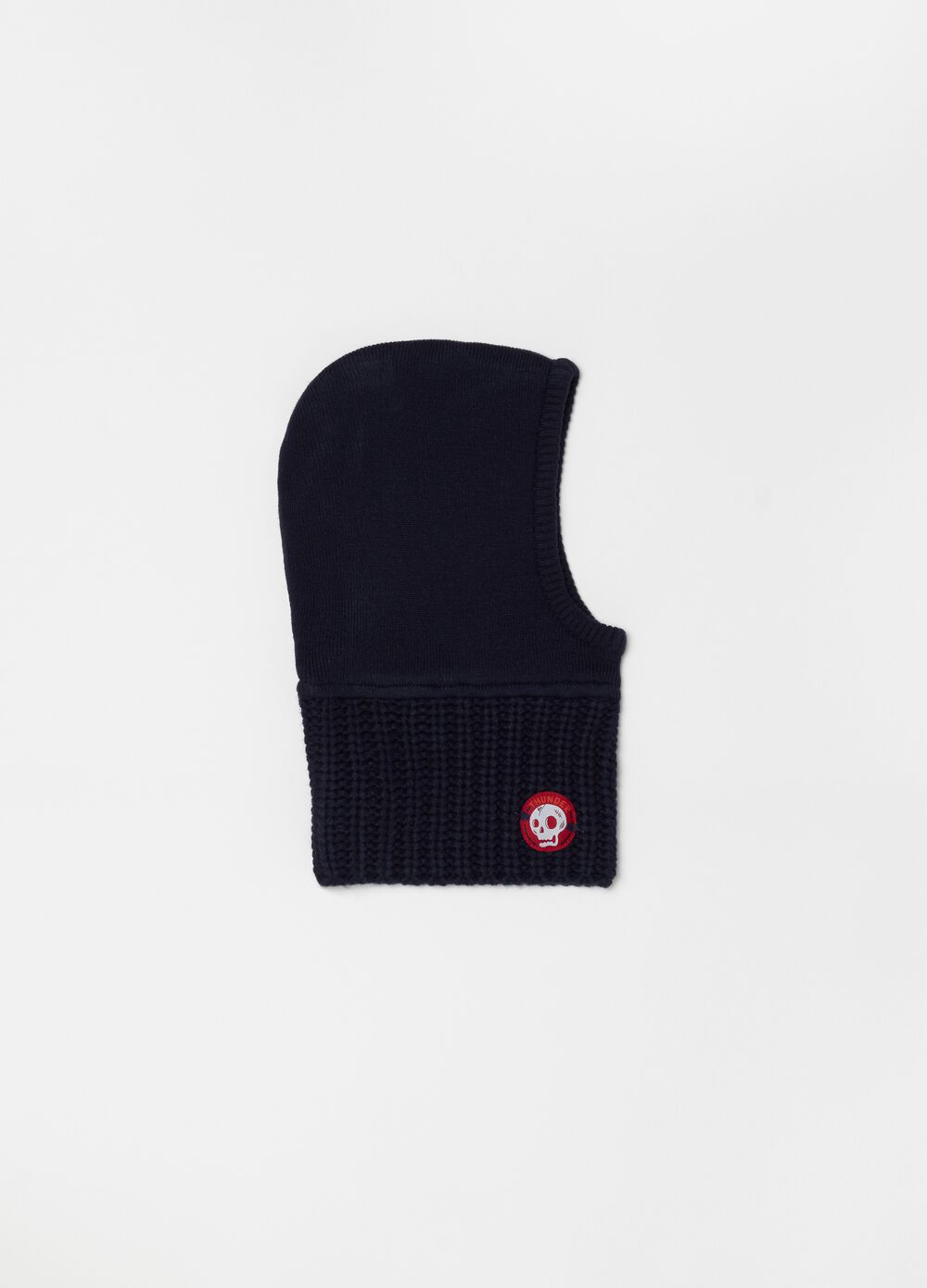 Hat with neck cover and patch