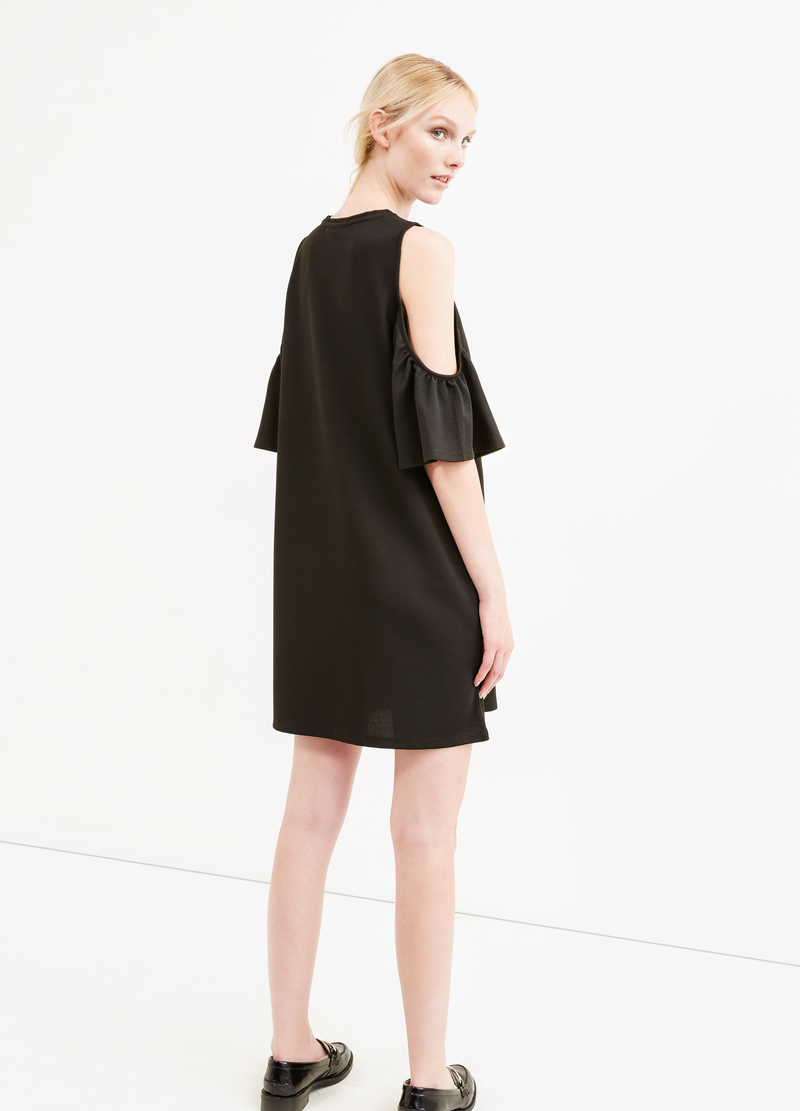 Short stretch dress with flounces image number null