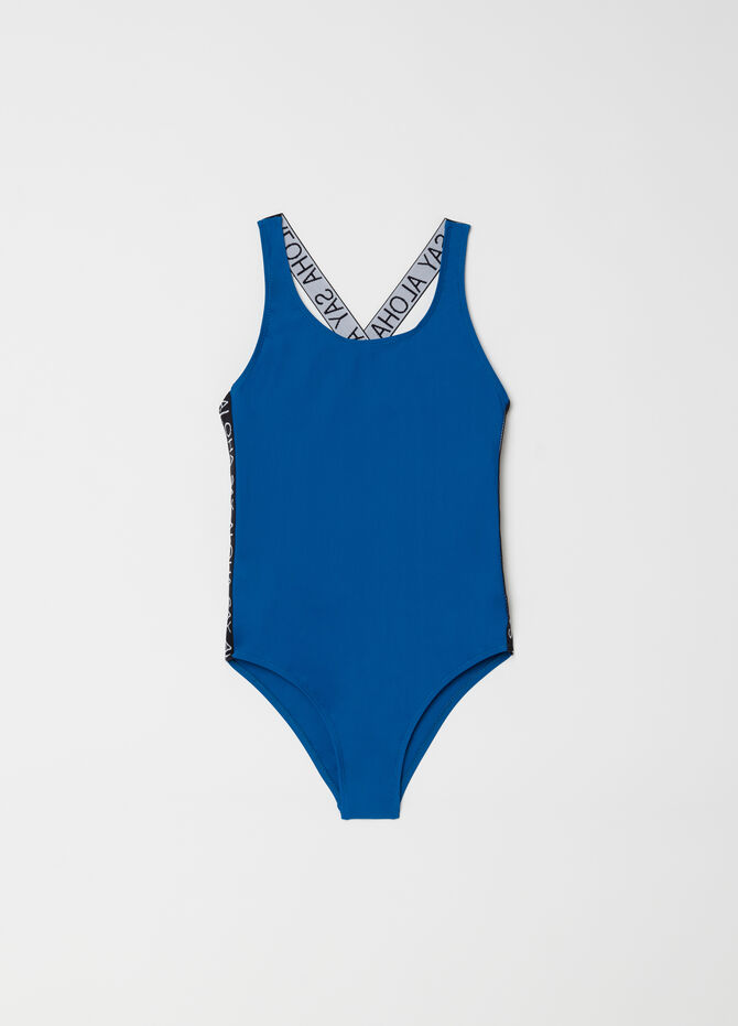 One-piece stretch swimsuit with embroidery and inserts