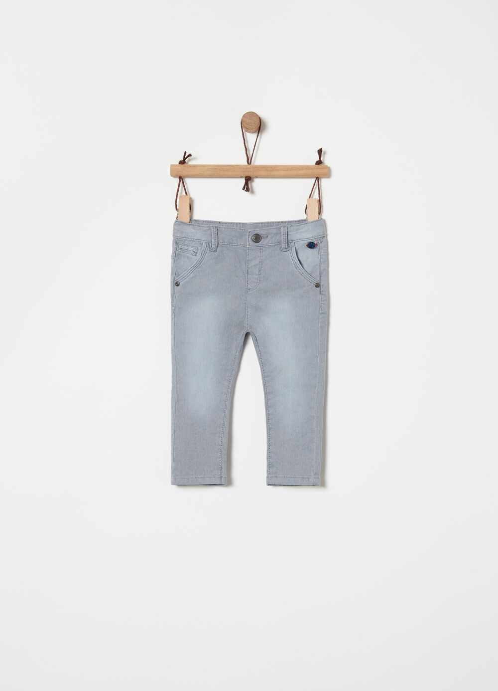 Stretch cotton washed trousers