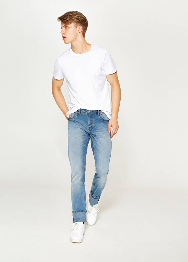 Jeans skinny fit stretch used con risvolto