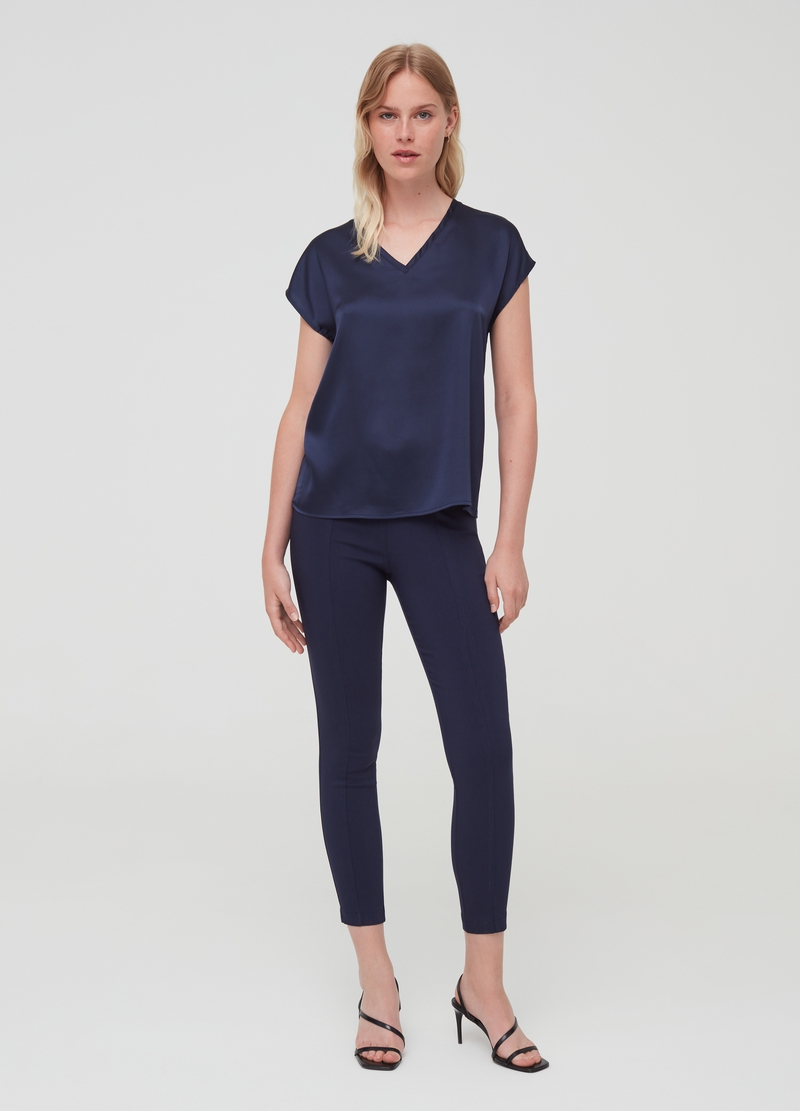 Satin-effect blouse with V-neck image number null