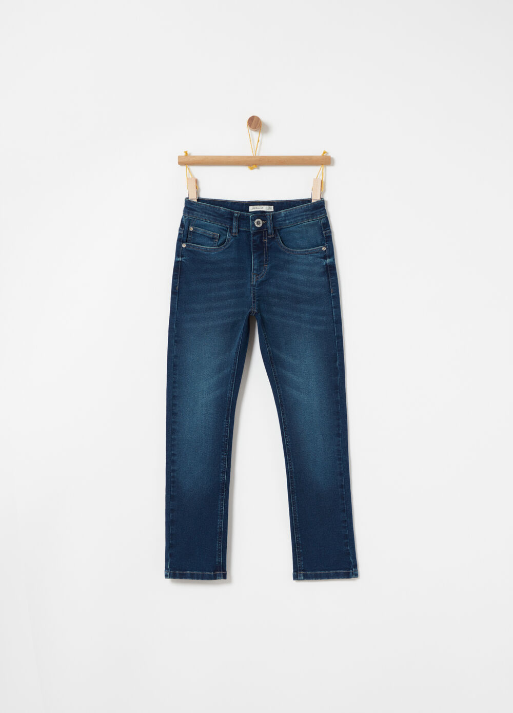 Regular-fit washed denim jeans with five pockets