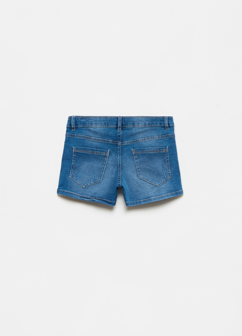 Denim shorts with abrasions image number null