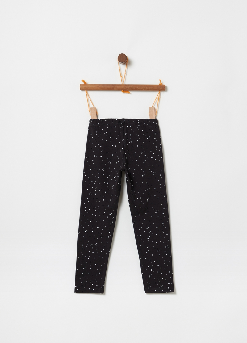 Leggings stretch stampa pois all-over image number null