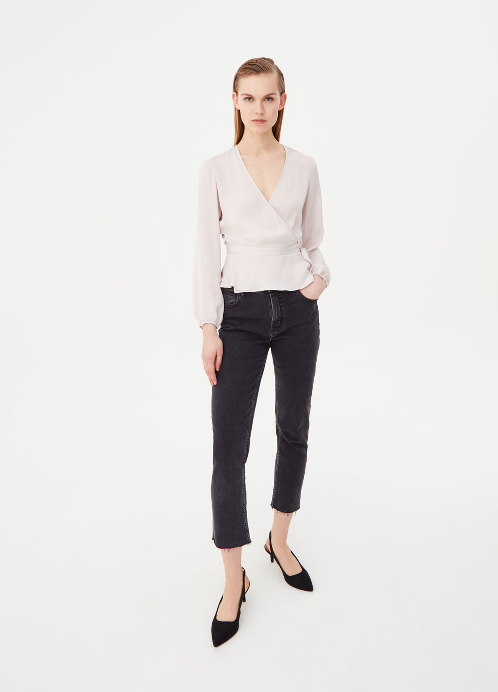 Crossover blouse on the front and belt