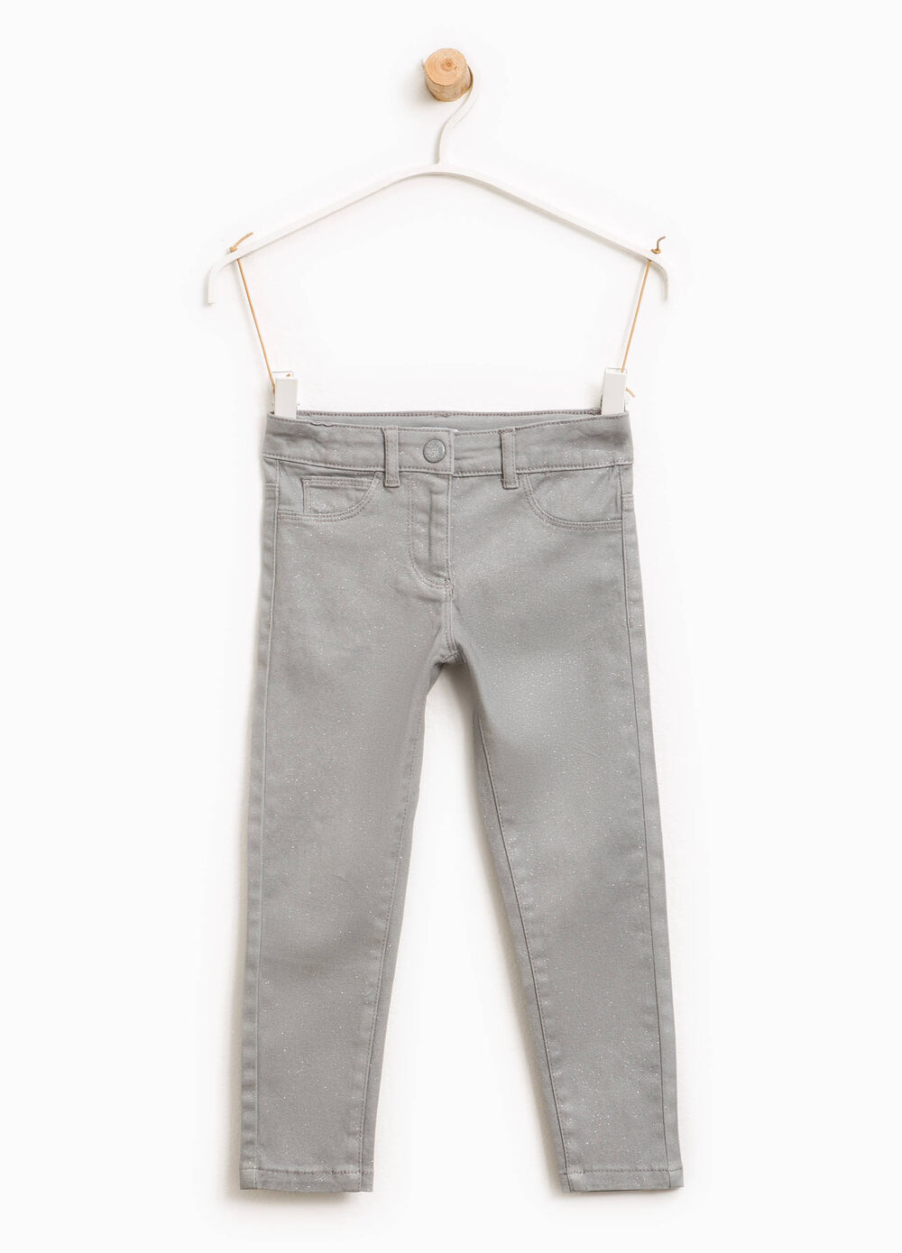 Stretch cotton twill trousers with glitter