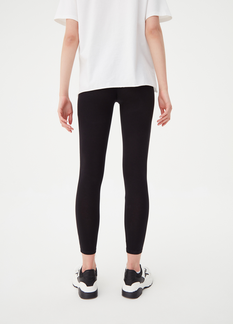 Solid colour stretch BCI cotton leggings image number null